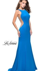 La Femme Blue Prom Evening Mermaid Gown